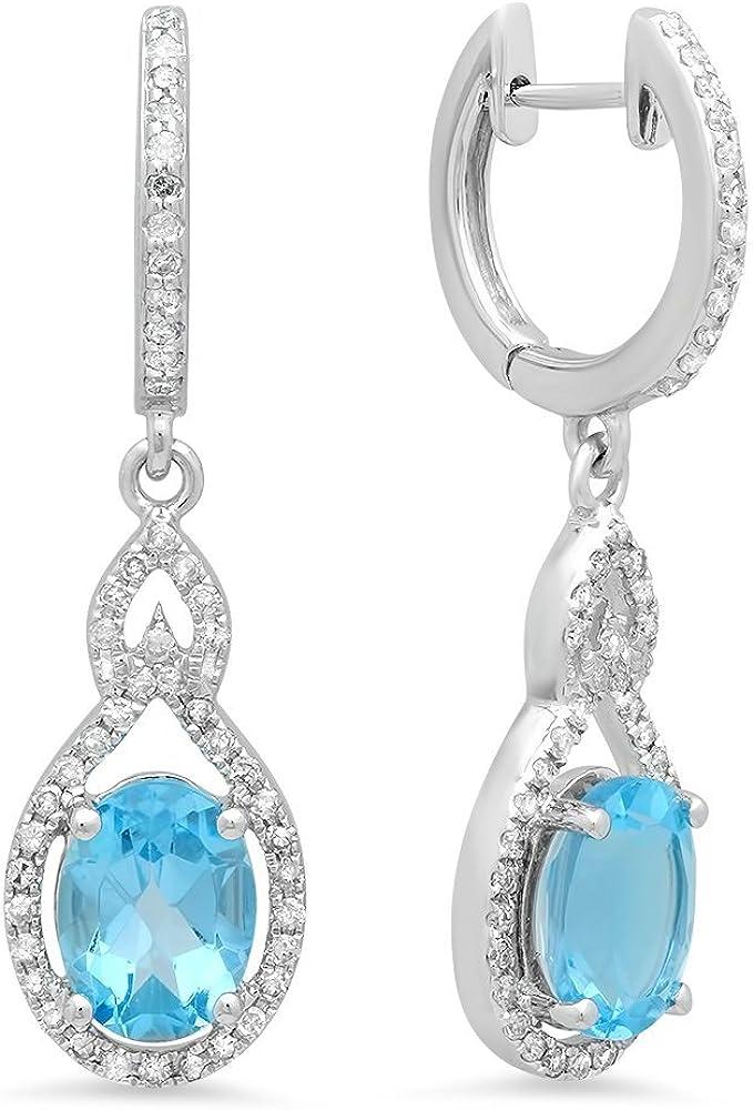 14K oro blanco diamante de corte ovalado azul topacio y corte redondo blanco–Pera gota colgando Pendientes