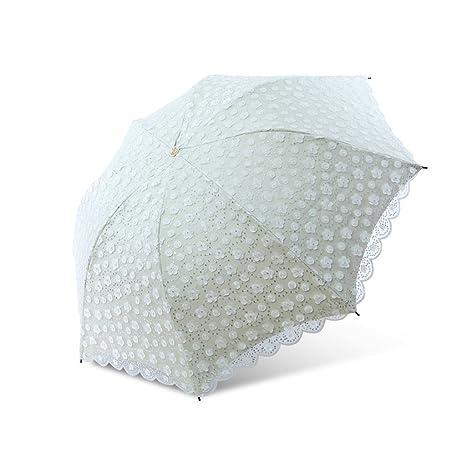 Paraguas de Sol Protección Solar Bordado UV Tri-Fold Princesa de Encaje Paraguas Transparente Paraguas