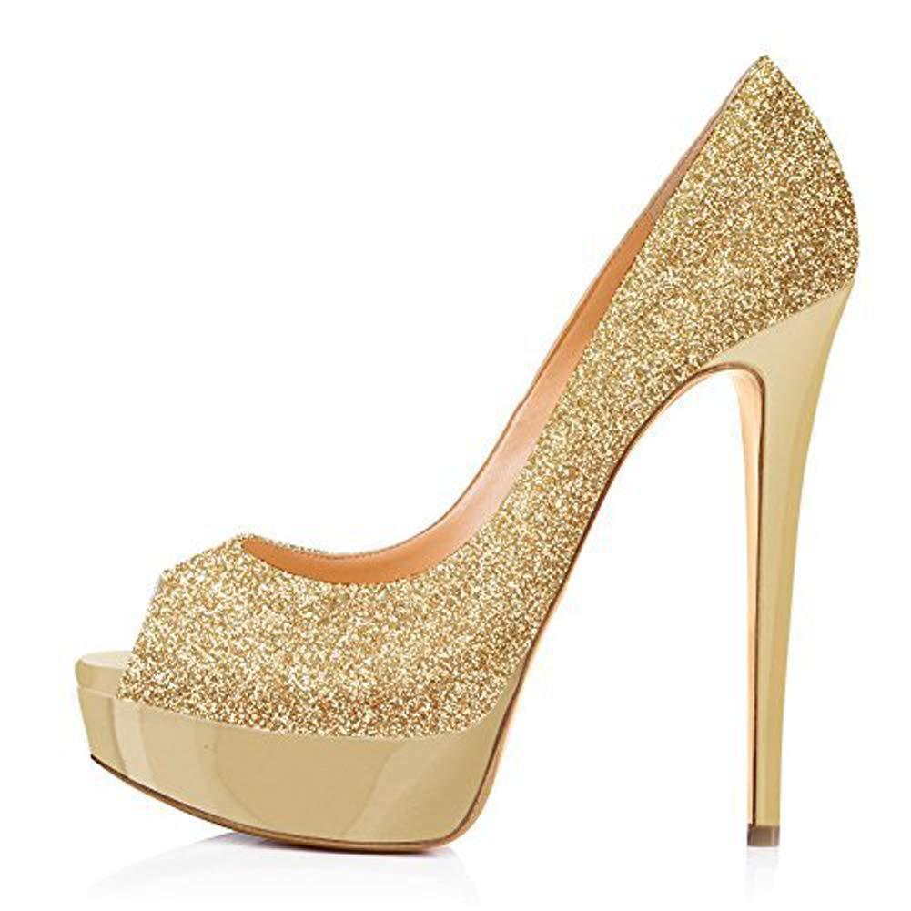 Frauen PU Stiletto Heels Mode Fisch Mund Plattform Plattform Plattform Pailletten Hochzeit Schuhe Slipper Schuhe Abendschuhe B07P54G8HB Tanzschuhe Verbraucher zuerst 1a281c