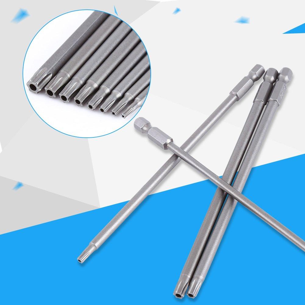 Akozon juego de destornilladores magn/éticos 150 mm 8 piezas Juego de destornilladores de punta de estrella de acero S2