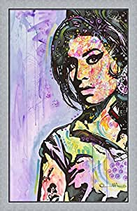 Amy Winehouse by Dean Russo Framed Art Print Wall Picture, Flat Silver Frame, 29 x 44 inches