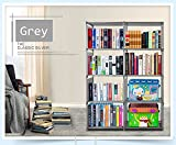 Vividy 4 Shelf Adjustable 8 Cube Bookcase, DIY Bookshelf for Kids Boys Girls, Home Book Storage Furniture (Grey)