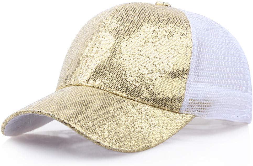 MOIKA Nouveau Style Femme Fille Casquette de Baseball de Queue de Cheval Paillettes Brillant D/ésordre Bonnet Snapback Bonnet de Soleil