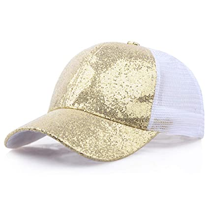 996af9c04eceb Image Unavailable. Image not available for. Color  Sale! Teresamoon Women  Girl Ponytail Baseball Cap Sequins Shiny Messy Bun Snapback Hat Sun Caps