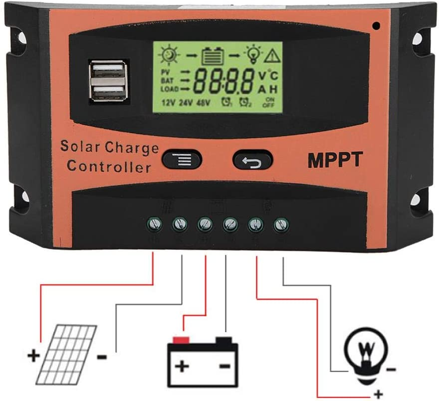 12V//24V MPPT Solar Panel Regulador Intelligent Solar Panel Regulador with LCD Screen Dual USB Port for Auto Battery Controller 30A Heitamy Solar Panel Controller