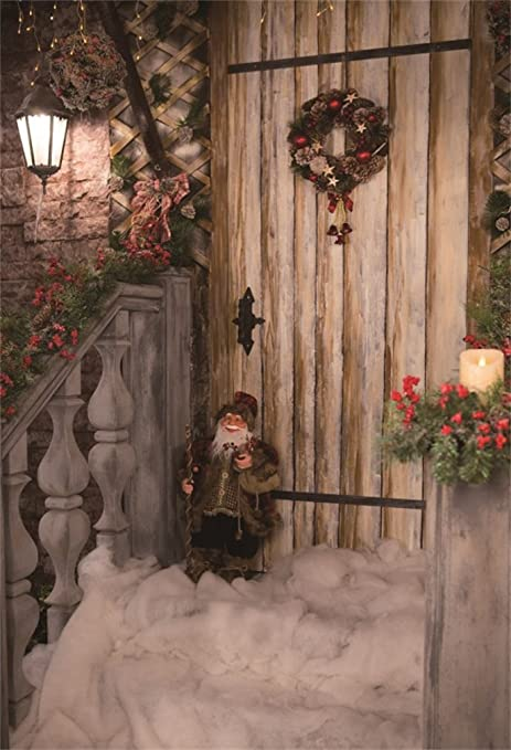 YongFoto 1,5x2,2m Fondo de Fotografia Navidad Papá Noel Guirnalda Luces Brillantes Cortina Flores Frescas Nieve RIC Wood Plank Lantern Navidad Telón de Fondo Fiesta Niños Boby Estudio Fotográfico: Amazon.es: Electrónica