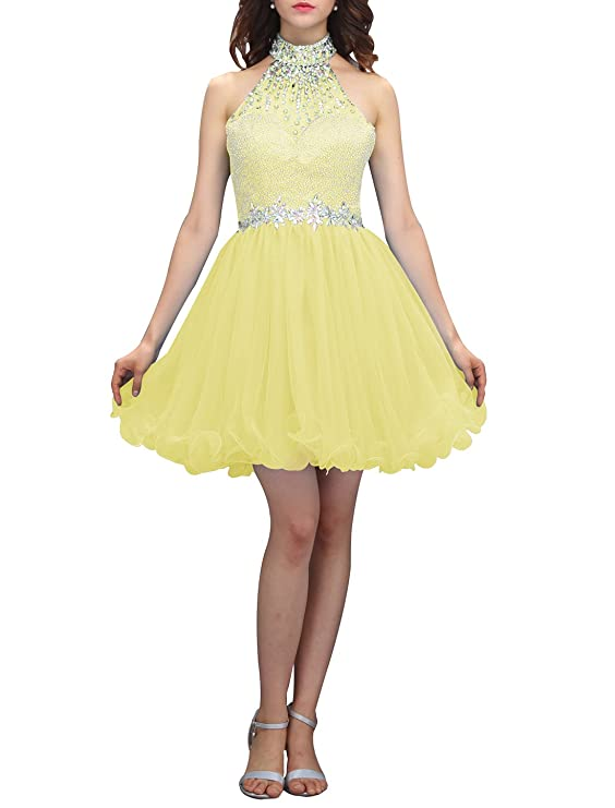 Review Wedtrend Women's Halter-neck Homecoming Dress with Beads Short Prom Dress