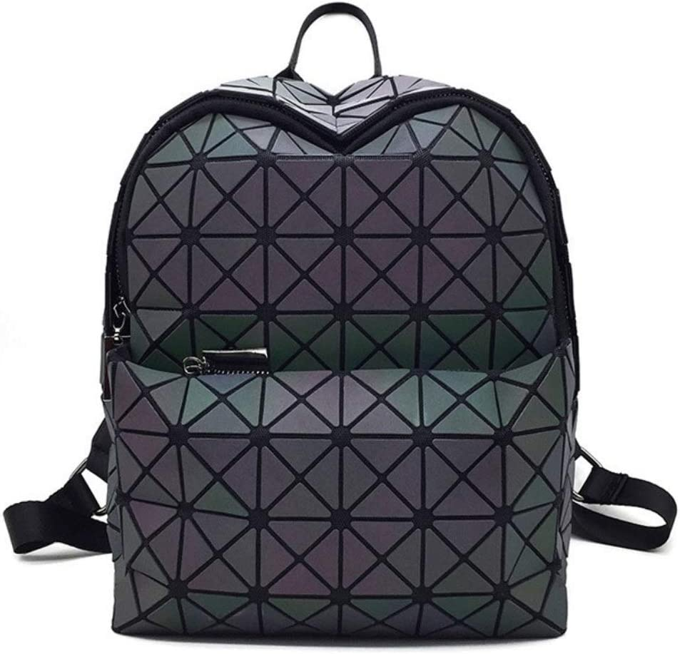 ZYqi Laser Backpack Womens Trendy Geometric Rhombus Backpack Magical Luminous Laser Backpack Color : Black, Size : Small