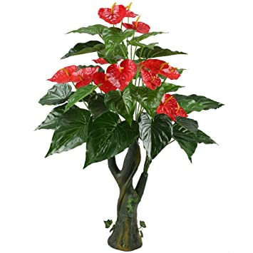 GTidea 3.3 Feet Artificial Tree Anthurium Flowers Decorative Silk Plants  Home Office Arrangements Indoor Outdoor Greenery