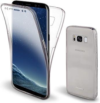 Moozy Coque Intégrale pour Samsung S8 Plus Transparente Silicone Antichoc - 360 Degres Protection Avant et Arriére Etui Housse Case