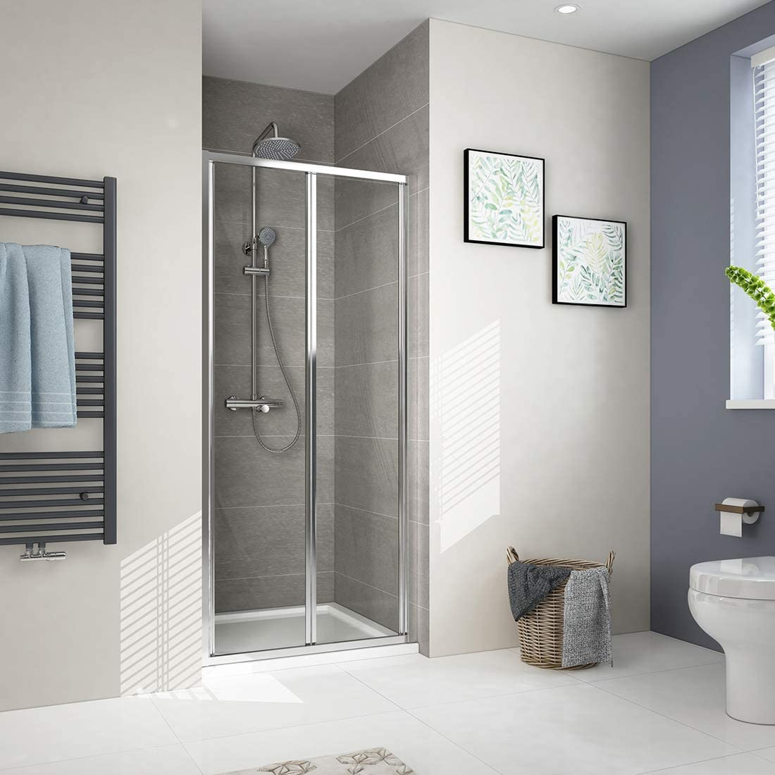 Duschdeluxe - Mampara de ducha plegable reversible con puerta de cristal templado de 6 mm: Amazon.es: Bricolaje y herramientas