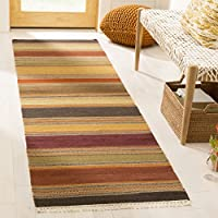 Safavieh Striped Kilim Collection STK315A Hand Woven Gold Premium Wool Runner (23 x 6)