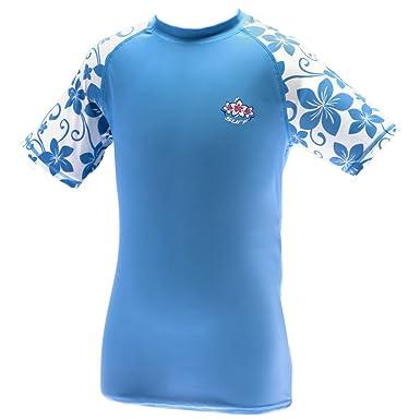 5c350d5d55 Kidz Swimmers Girls UV Sun Protection Rash Vest UPF 50+ Placid Blue:  Amazon.co.uk: Clothing