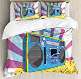 Ambesonne 70s Party Decorations Duvet Cover Set King Size, Retro Boom Box in Pop Art Manner Dance Music Colorful Composition, Decorative 3 Piece Bedding Set with 2 Pillow Shams, Multicolor