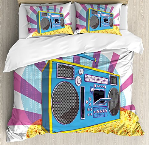 70s Party Decorations Duvet Cover Set Queen Size by Ambesonne, Retro Boom Box in Pop Art Manner Dance Music Colorful Composition, Decorative 3 Piece Bedding Set with 2 Pillow Shams, Multicolor by Ambesonne