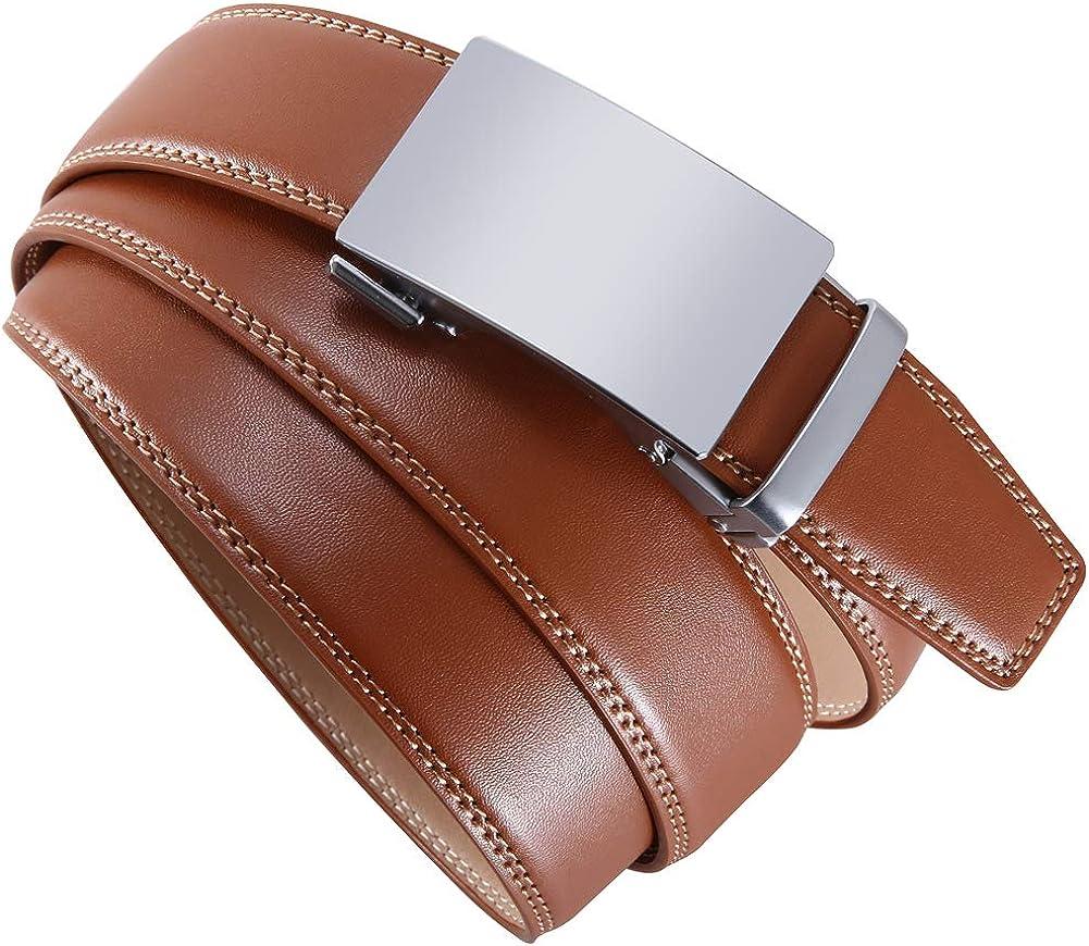 Wetoper recortar para adaptarse Cintur/ón de piel aut/éntica con trinquete para hombre con hebilla deslizante