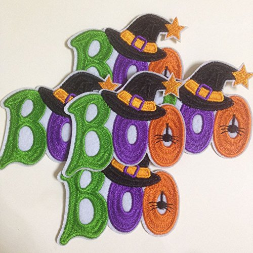 Set of 10pcs Halloween Boo w/hat Spider Iron On Sew On Embroidered Patches Appliques Machine Embroidery Needlecraft Sewing Crafts projects -