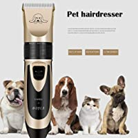 Pet Hair Remover Dog Hair Eraser Low Noise Rechargeable Cordless Electric Quiet Hair Clippers Pet Hair Shaver (Gold, A)
