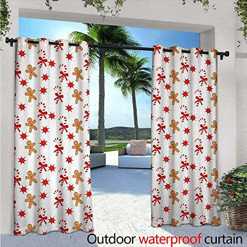 Gingerbread Man Balcony Curtains W84 x L108 Candy Cane with Bowties Red Star Figures Gingerbread Man Pattern Outdoor Patio Curtains Waterproof with Grommets Sand Brown Orange