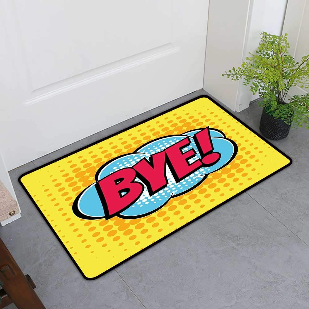 TableCovers&Home Magic Non Slip Door Mat, Going Away Party Decorative Imdoor Rugs for Kids Room, Comic Book Bubble Text Retro Style Bye Cartoon Design Art (Hot Pink Pale Blue Yellow, H32 x W48)