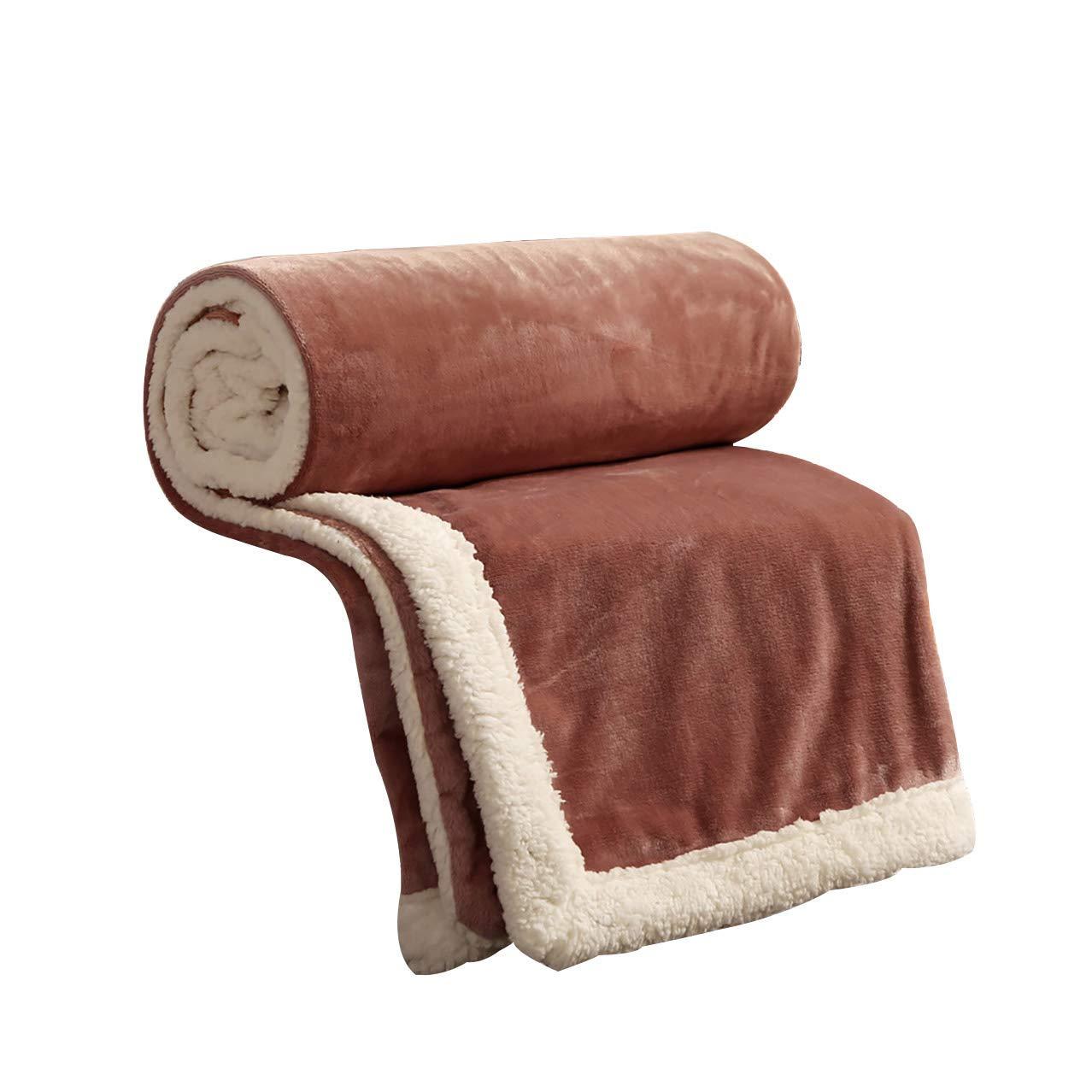 フェイクファー毛布フェイクファー、無地毛布学生寮の女性の冬厚いサンゴフリース毛布暖かいシートキルト(色:B、サイズ:200× 230 cm) B07QLKGQBQ