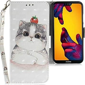 CLM-Tech Funda Huawei P20 Lite, Carcasa Cuero sintético con Función de Soporte, Ranuras para Tarjetas, para Huawei P20 Lite Flip Case Gran Gato Tomate ...