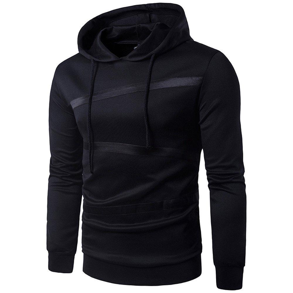 GOVOW Cotton Hooded Sweatshirt Men Long Sleeve Patchwork Hoodie Tops Jacket Coat Outwear(L,Black)