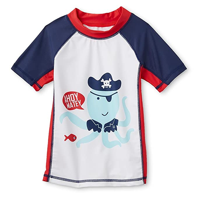 23dcb550ca Image Unavailable. Image not available for. Color: Baby Boys Rashguard Swim  Shirt - Ahoy Matey 6/9 Months