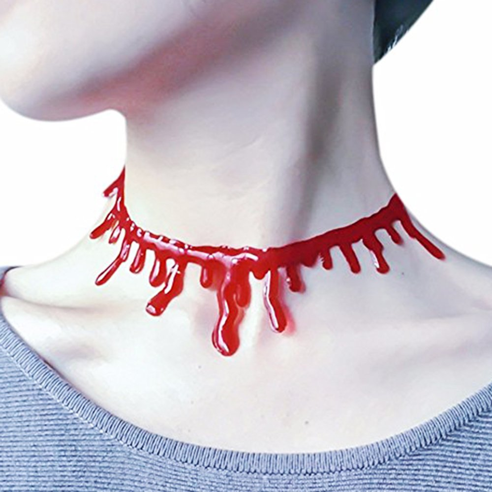 1 Stück Blut Halskette, Blutstropfen Kette, rot Blutige Kette Horror Halsband Halloween Accessoire Kostüm Schmuck 1 Stück Blut Halskette YXP HN0094