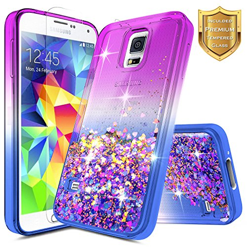 best service 30acd a885f Galaxy S5 Case w/[Tempered Glass Screen Protector], NageBee Glitter Liquid  Quicksand Waterfall Flowing Sparkle Shiny Bling Luxury Clear Cute Case For  ...