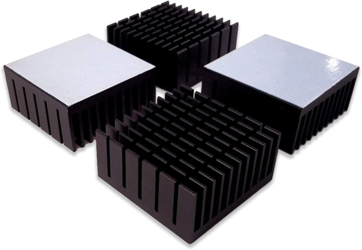 100pcs Small Black Cube HEATSINK 10x10x10mm Aluminum Cooler for IC With Blue Pad