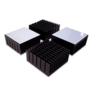 Easycargo 4pcs 40mm Heatsink Kit 40mm x 40mm x 20mm + 3M8810 Thermal Conductive Adhesive Tape, Cooler Aluminium Heat Sink for Cooling 3D Printers TEC1-12706 Thermoelectric Peltier Cooler 40x40x20mm