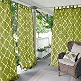 N&T 1 Piece Grass Trellis Gazebo Curtain Panel 95 Inch, Green Moroccan Print Outdoor Curtain Water Resistant for Patio Porch, Light Filtering Indoor/Outdoor Curtain Pergola Sunroom Tab Top, Polyester