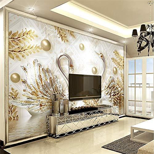 Amazhen シルク 壁画 室内装飾 リビングルーム 白鳥 パール ダイヤモンド オーナメント 花 壁画 写真 背景 モダン ラージ 壁画 350cm*260cm 6959024110773 B07HF6QFD1 350cm*260cm  350cm*260cm