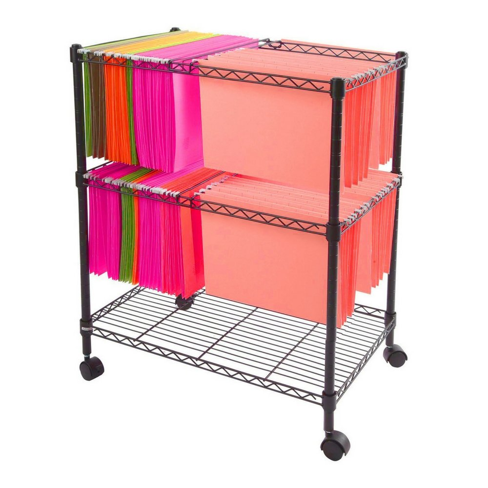 Mobile File Organizer Office Documents Rolling Utility Cart Metal Wire 2 Shelf Metal Frame Portable Adjustable Shelf 4 Swivel Casters Home Office Indoor Mobile Storage Furniture & eBook by BADA shop