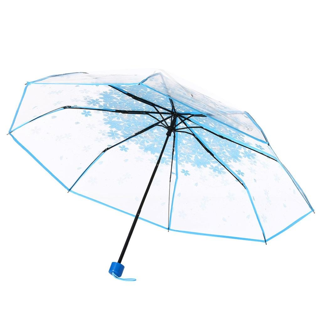 Clearance! Transparent Clear Umbrella Cherry Blossom Mushroom Apollo Sakura 3 Fold Umbrella (Blue)