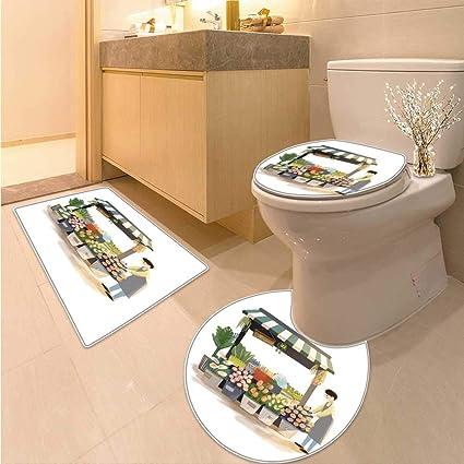Amazon.com: Miki Da Non Slip Bath Shower Rug A Warm Flower Shop ...