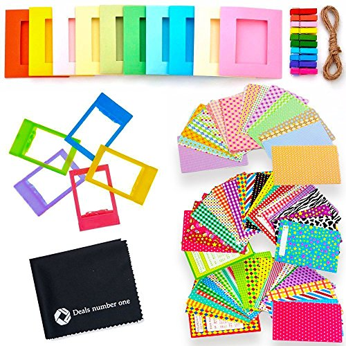 5-in-1-Colorful-Bundle-Kit-Accessories-for-Fujifilm-Instax-Mini-98-Camera-Assorted-Accessory-Pack-of-Sticker-Frames-Plastic-Desk-Frame-Hanging-Clips-with-String