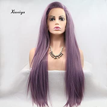 Xiweiya Gemischt Lila Perücken Lang Seidig Glattes Haar Lila