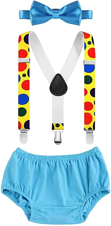Baby Boys 1st//2nd Birthday Smash Cake Outfit 3PCS Suspender+Diaper Pants+Bow Tie Blue 3-24 Months