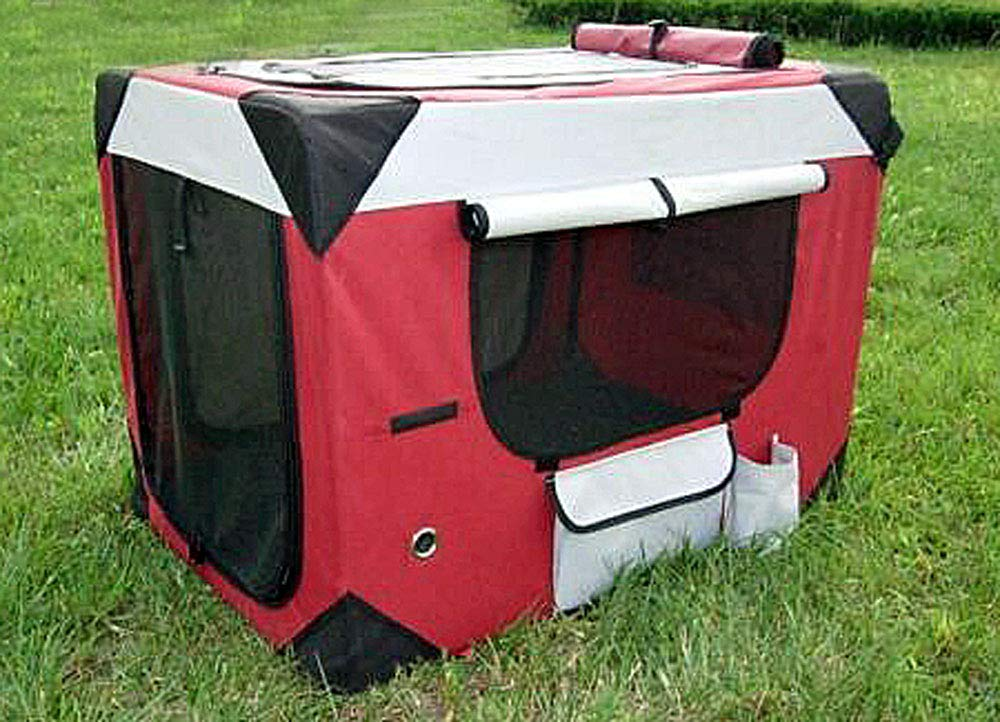 Maroon PUPPY POWER Portable PET Home, Collapsible Dog Kennel, Soft Crate Large (Maroon)