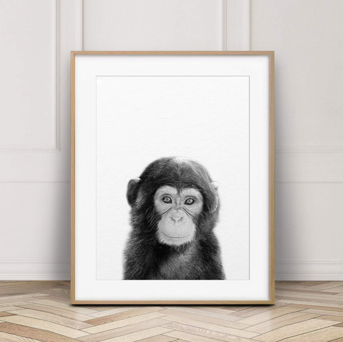 MalertaART Baby Monkey Print Jungle Animal Wall Art Nursery Decor Cute Baby Chimpanzee Photo Black And White Animal Print Kids Room Printable Art Framed Wall Art