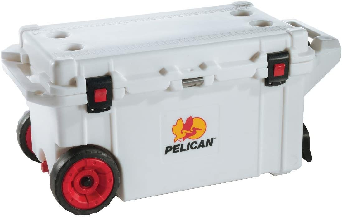 Pelican 80 Quart Wheeled Elite Cooler – Marine White