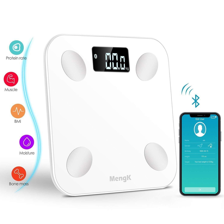 Báscula Bluetooth mengk análisis corporal digital rétro-éclairée inteligente para iOS Android para gérer masa corporal, agua en el cuerpo, grasa, ...