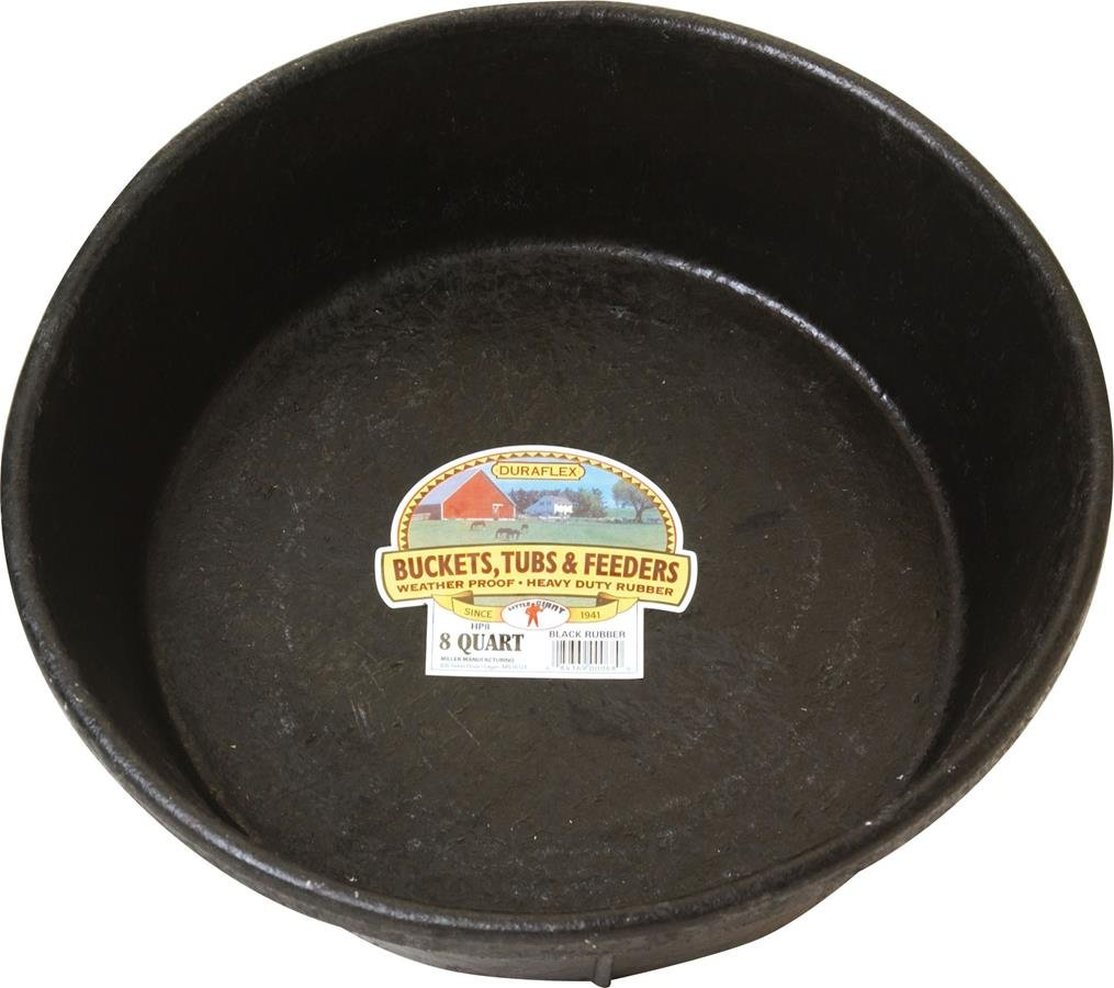 Miller Manufacturing HP8 Rubber Feed Pan for Dogs and Horses, 8-Quart by Miller