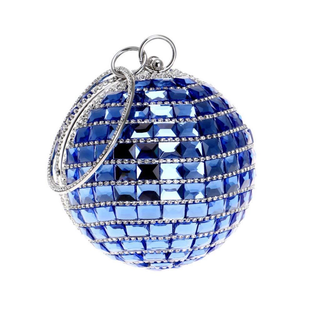 6641cadedfffc Hi-Smile Mini-Geldb ouml rse Damen Runde Ball Clutch Strass Glas Glas Glas  Diamant Abendtasche Party Hochzeit Handtaschen Geldb ouml rse (Farbe Blau