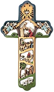 Dicksons Nativity Cross with Star 6 x 11 Resin Stone Christmas Wall Sign Plaque