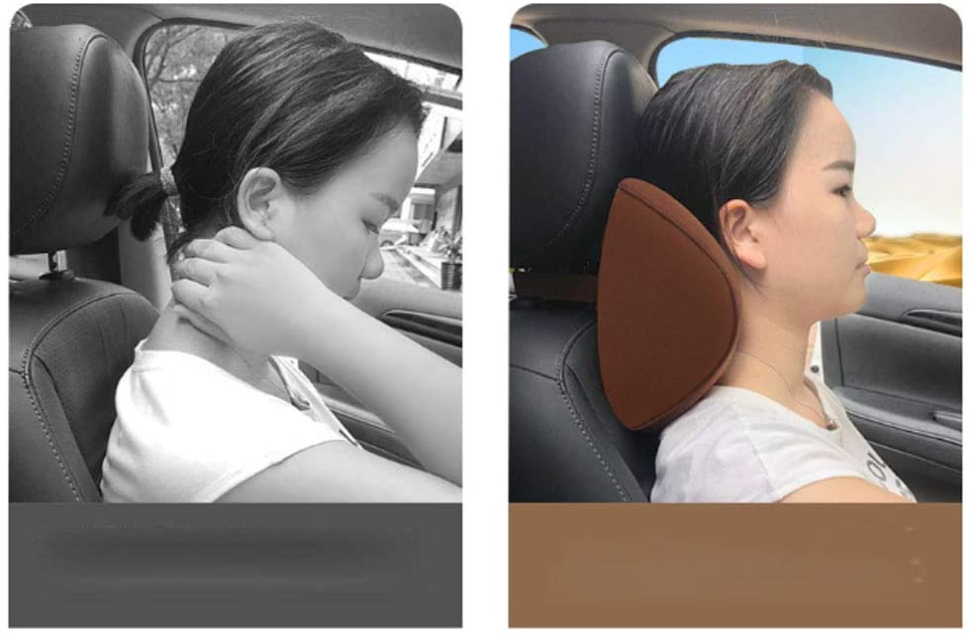 Alivier Coj/ín del reposacabezas del Coche Almohada para el Cuello de Cuero de la PU Almohada de Soporte para el Cuello de Espuma de Memoria para el coj/ín del reposacabezas del Asiento del autom/óvil
