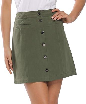 MISS MOLY Falda Mujer Elegantes Faldas Cortas con Botones Verano ...