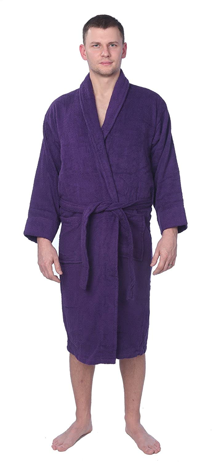 02cd88ee0f Men s 100% Cotton Shawl Collar Robe Terry Cloth Bathrobe Available in Plus  Size at Amazon Men s Clothing store
